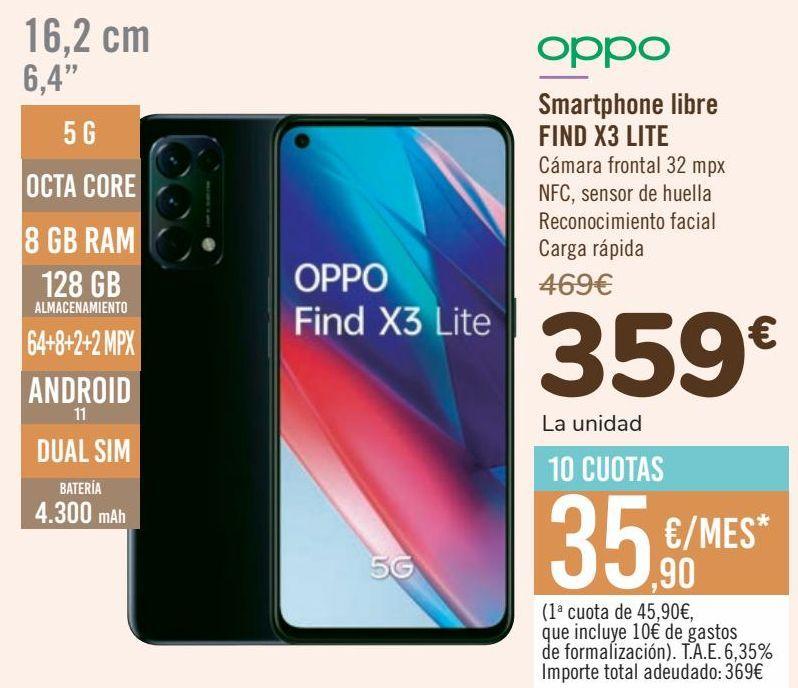 Oferta de OPPO Smartphone libre FIND X3 LITE por 359€