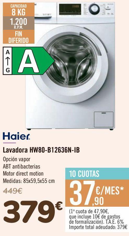 Oferta de Haier Lavadora HW80-B12636N-IB  por 379€