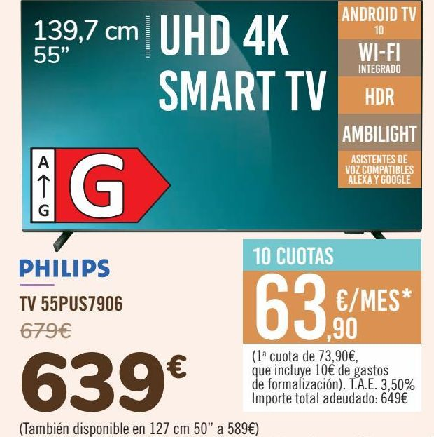 Oferta de PHILIPS TV 55PUS7906 por 639€