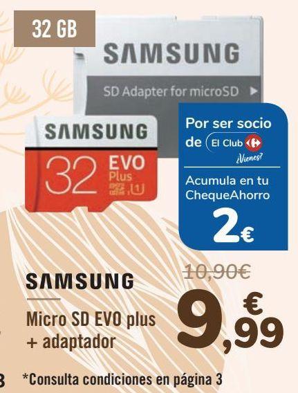 Oferta de SAMSUNG Micro SD EVO plus + adaptador por 9,99€