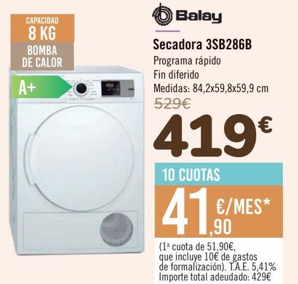 Oferta de Balay Secadora 3SB286B  por 419€