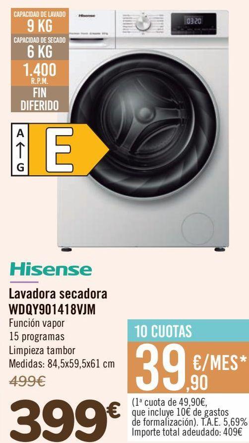 Oferta de Hisense Lavadora secador WDQY901418VJM  por 399€