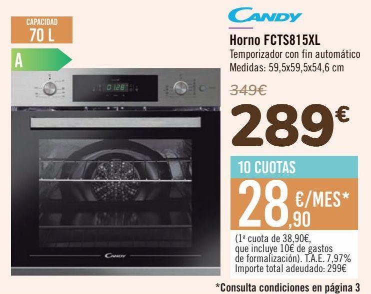 Oferta de Candy Horno FCTS815XL  por 289€
