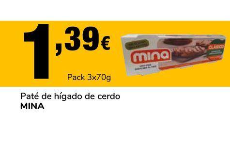 Oferta de Paté de hígado de cerdo MINA Pack 3 x 70 g por 1,39€