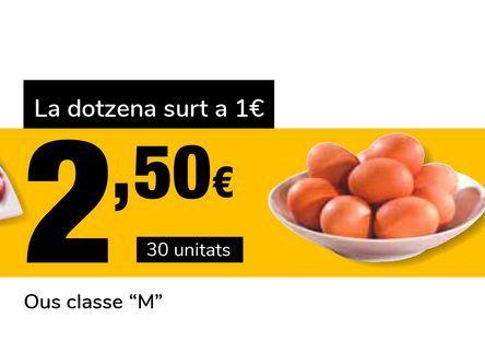 Oferta de Huevos clase M 30 uds por 2,5€
