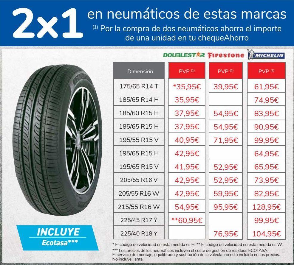 Oferta de 2x1 en neumáticos de estas marcas  por