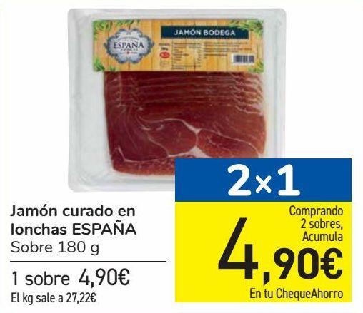 Oferta de Jamón curado en lonchas ESPAÑA por 4,9€