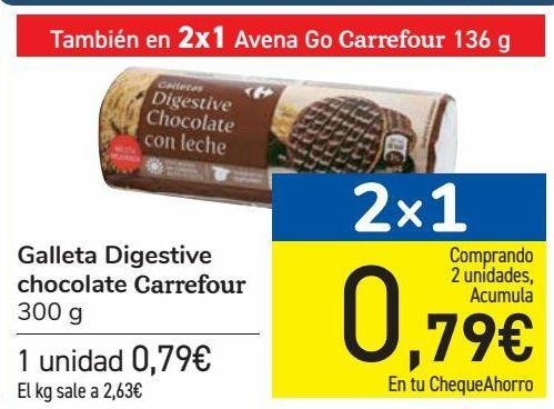 Oferta de Galleta Digestive Chocolate Carrefour  por 0,79€
