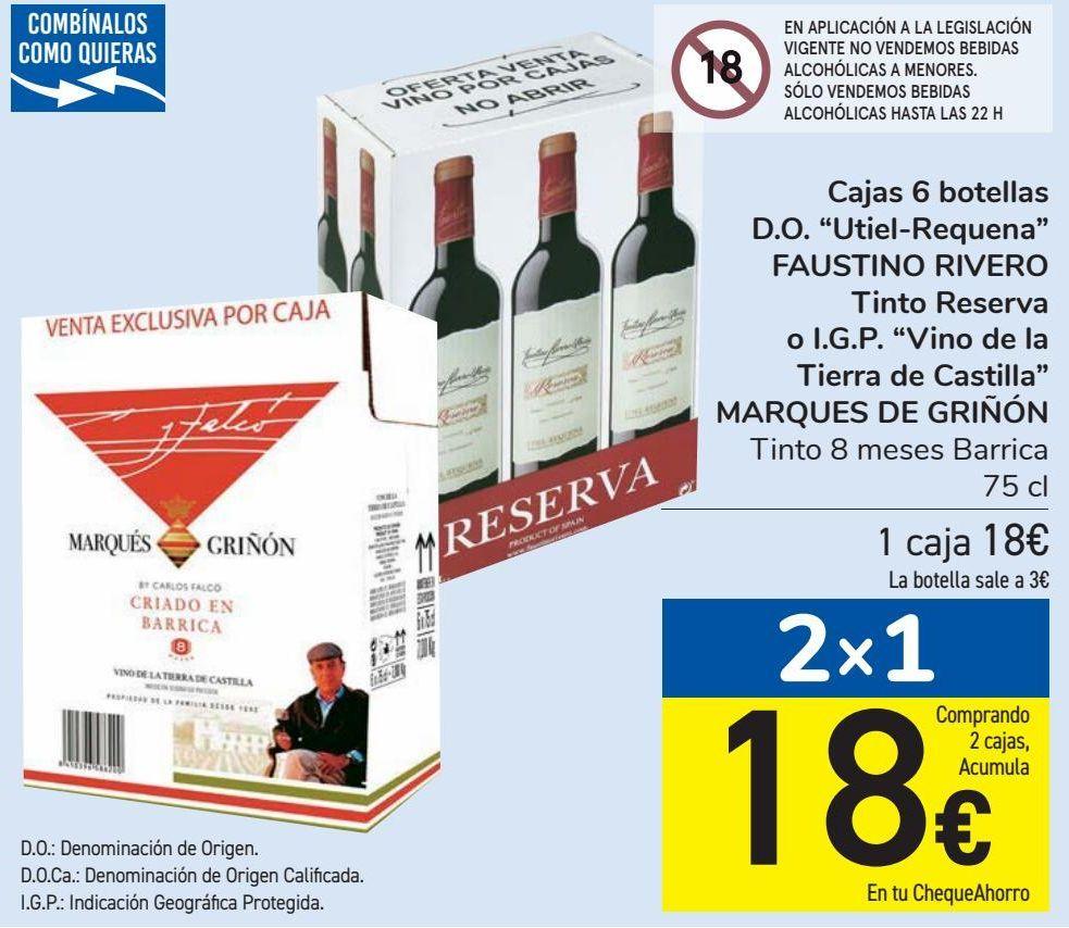 Oferta de Caja 6 botellas D.O.''Utiel-Requena'' FAUSTINO RIVERO Tinto Reserva o I.G.P. ''Vinos de la Tierra de Castilla'' MARQES DE GRÑÓN  por 18€