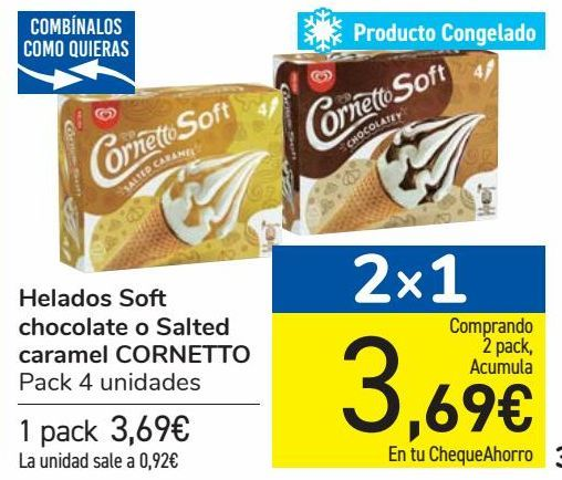 Oferta de Helados Soft chocolate o Salted caramel CORNETTO por 3,69€