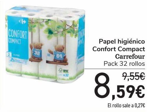 Oferta de Papel higiénico Confort Compact Carrefour  por 8,59€