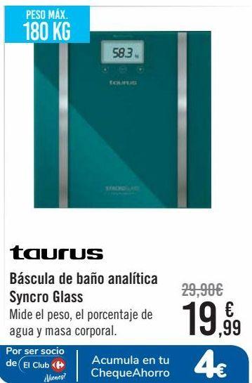 Oferta de Taurus Báscula de baño analítica Syncro Glass  por 19,99€