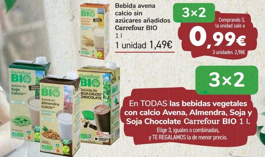 Oferta de En TODAS las bebidas vegetales con calcio Avena, Almendra, Soja y Soja Chocolate Carrefour BIO  por
