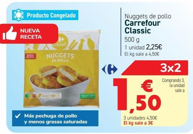 Oferta de Nuggets de pollo Carrefour Classic por 2,25€