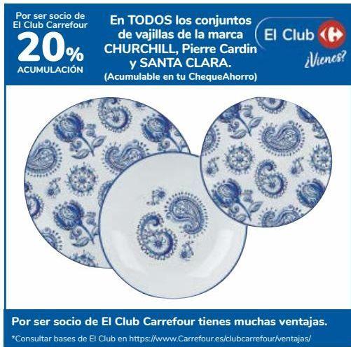 Oferta de En TODOS los conjuntos de vajillas de la marca CHURCHILL, Pierre Cardin y SANTA CLARA  por