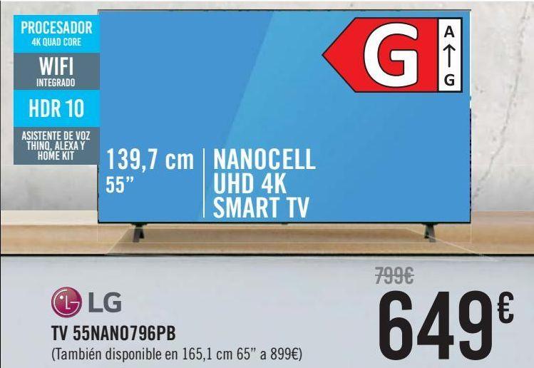 Oferta de LG TV 55NANO796PB  por 649€