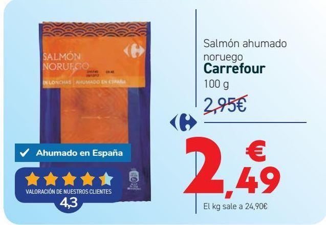 Oferta de Salmón ahumado noruego Carrefour por 2,49€