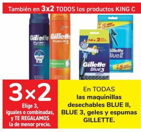 Oferta de En TODAS las maquinillas desechables BLU II. BLUE 3, geles y espumas GILLETTE  por