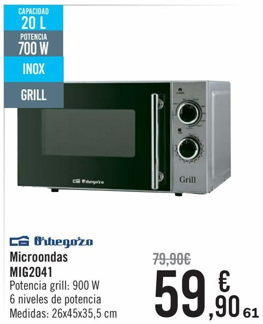 Oferta de Orbegozo Microondas MIG2041 por 59,9€