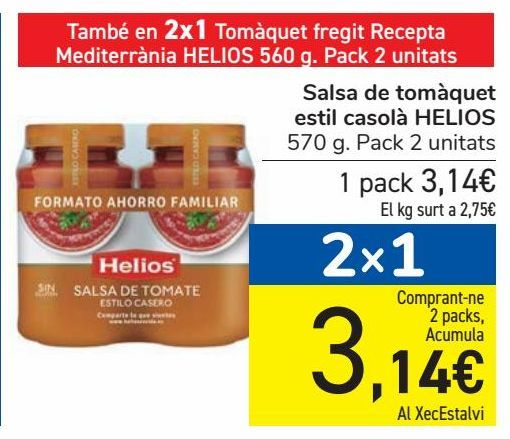 Oferta de Salsa de tomate Estilo Casero HELIOS por 3,14€