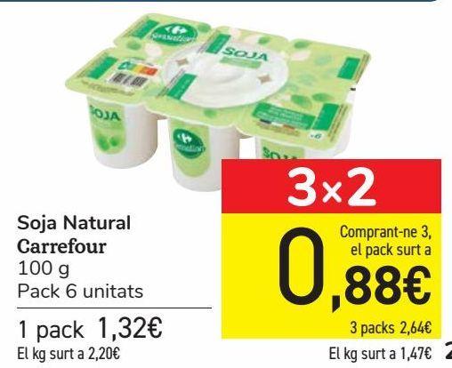 Oferta de Soja Natural Carrefour  por 1,32€