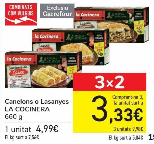 Oferta de Canelones o Lasañas LA COCINERA  por 4,99€