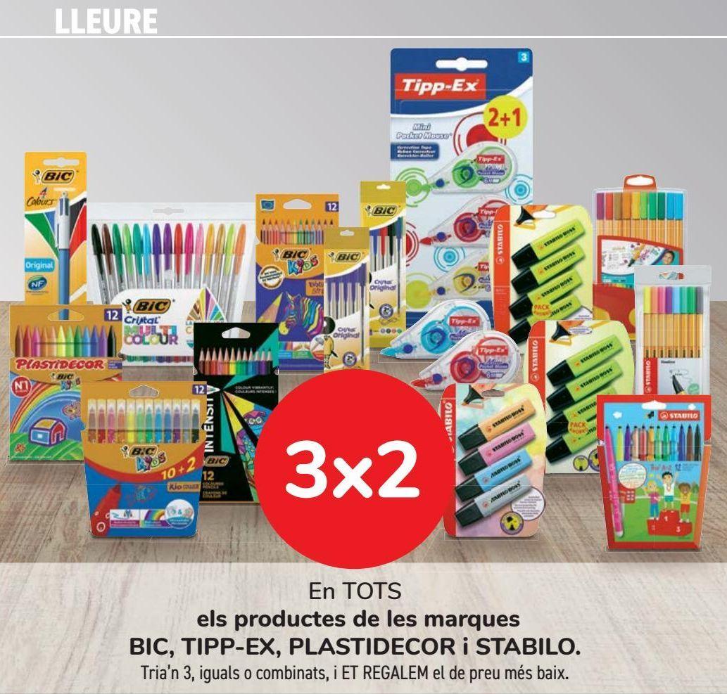 Oferta de En TODOS los productos de las marcas BIC, TIPP-EX, PLASTIDECOR y STABILO  por