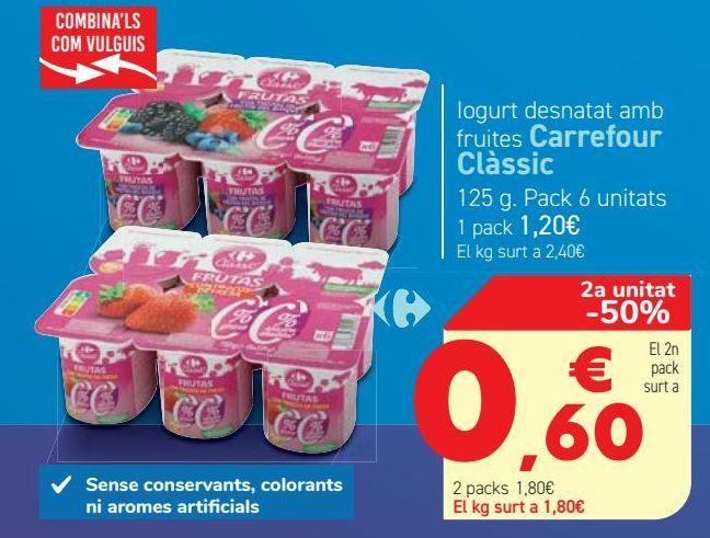 Oferta de Yogur desnatado con frutas Carrefour Classic  por 1,2€
