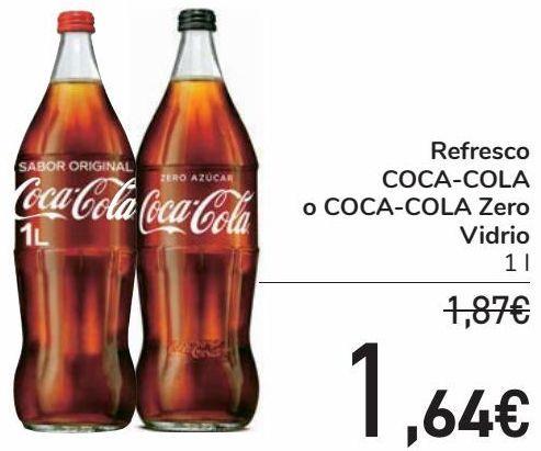 Oferta de Refresco COCA-COLA o COCA-COLA Zero Vidrio  por 1,64€