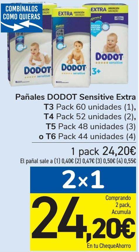 Oferta de Pañales DODOT Sensitive Extra T3, T4, T5 o T6  por 24,2€