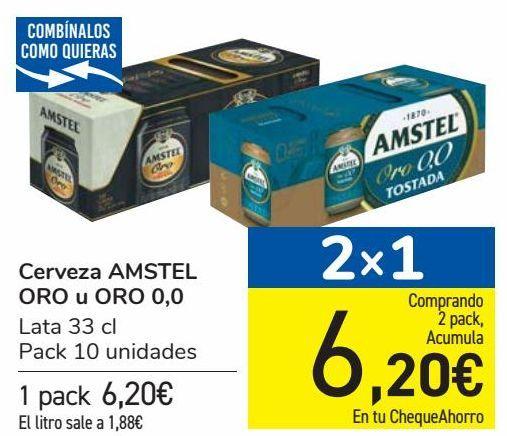 Oferta de Cerveza AMSTEL ORO u ORO 0,0 por 6,2€