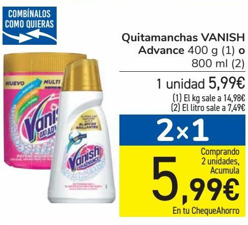 Oferta de Quitamanchas VANISH Advance por 5,99€