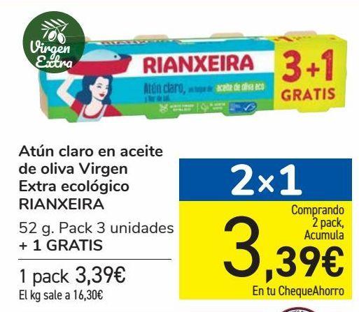 Oferta de Atún claro en aceite de oliva Virgen Extra ecológico RIANXEIRA  por 3,39€