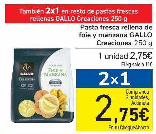 Oferta de Pasta fresca rellena de foie y manzana GALLO Creaciones por 2,75€