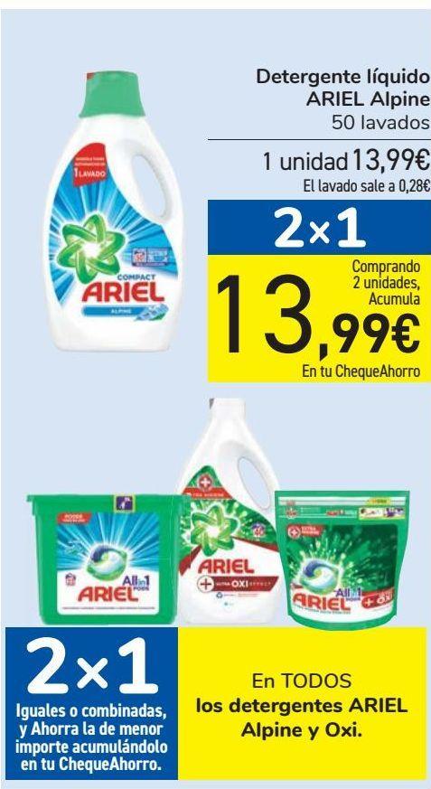Oferta de En TODOS los detergentes ARIEL Alpine y Oxi  por