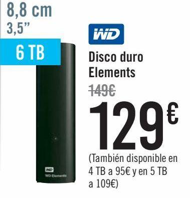 Oferta de WD Disco Duro Elemets  por 129€