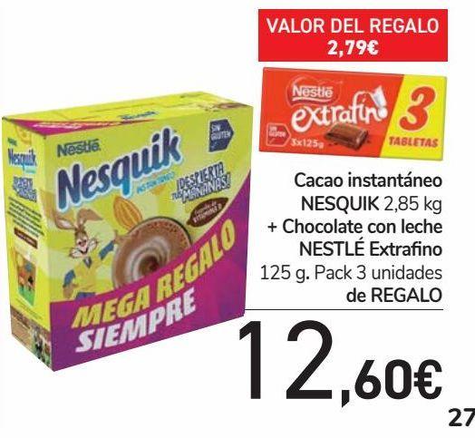 Oferta de Cacao instantáneo NESQUIK + Chocolate con leche NESTLÉ Extrafino de REGALO por 12,6€