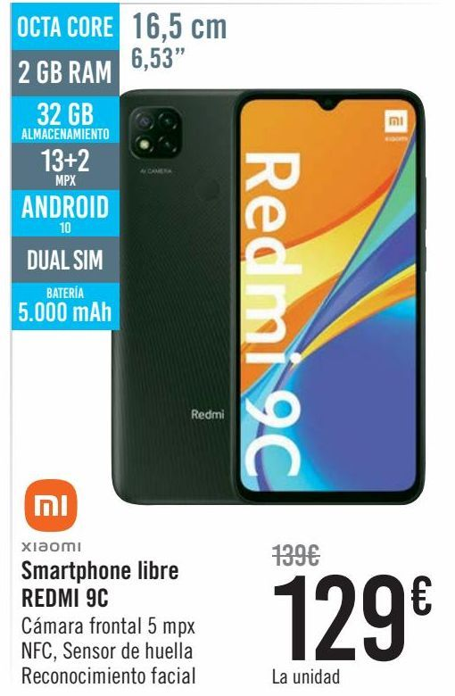 Oferta de XIAOMI Smartphone libre REDMI 9C  por 129€