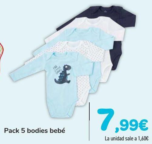 Oferta de Pack 5 bodies bebñe  por 7,99€