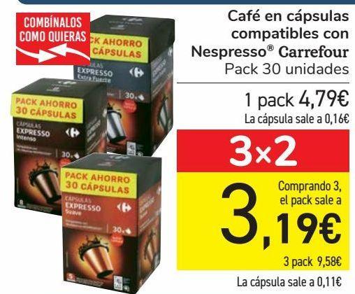 Oferta de Café en cápsulas compatibles con Nespresso Carrefour  por 4,79€