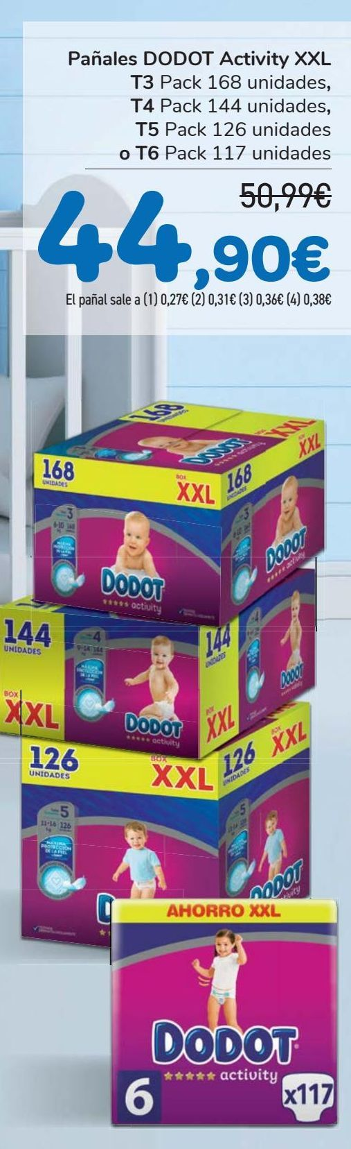 Oferta de Pañales DODOT Activity XXL  por 44,9€