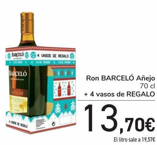 Oferta de Ron BARCELÓ Añejo + 4 vasos de REGALO  por 13,7€