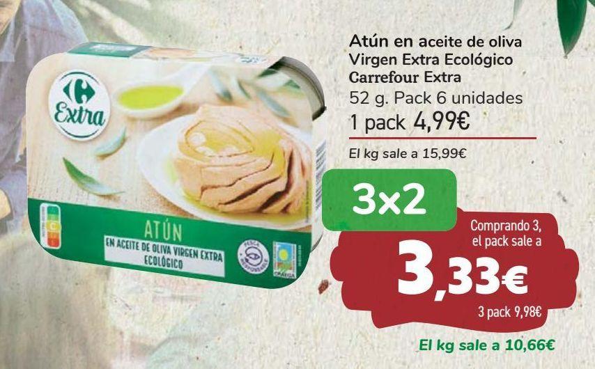 Oferta de Atún en aceite de oliva Virgen Extra Ecológico Carrefour Extra  por 4,99€