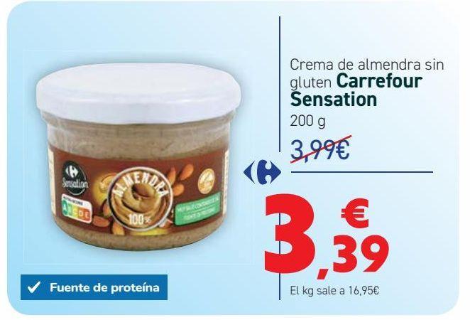 Oferta de Crema de almendra sin gluten Carrefour Sensation por 3,39€