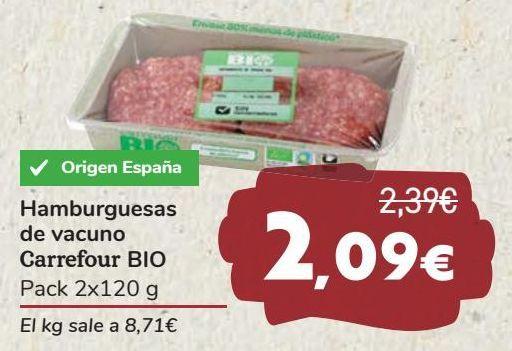 Oferta de Hamburgueas de vacuno Carrefour BIO  por 2,09€