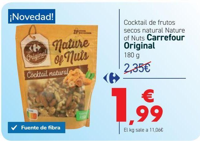Oferta de Cocktail de frutos secos natural Nature of Nuts Carrefour Original por 1,99€