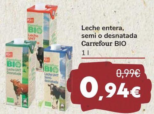 Oferta de Leche entera, semi o desnatada Carrefour BIO  por 0,94€