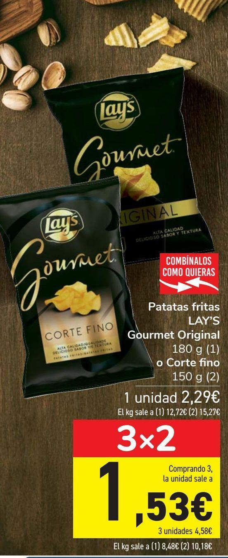 Oferta de Patatas fritas LAY'S Gourmet Original o Corte fino por 2,29€
