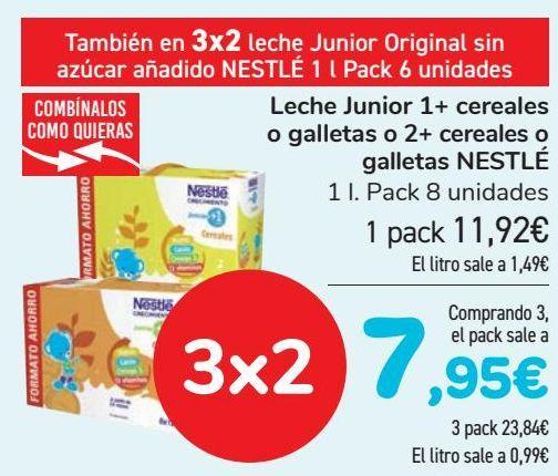 Oferta de Leche Junior 1+ cereales o galletas o 2 + cereales o galletas NESTLÉ  por 11,92€