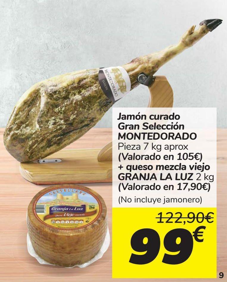 Oferta de Jamón curado Gran Selección MONTEDORADO + queso mezcla viejo GRANJA LA LUZ  por 99€
